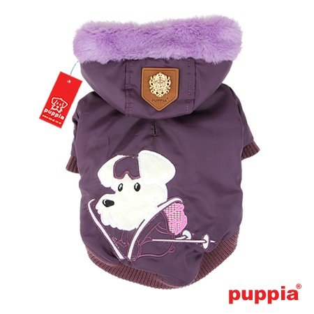 Puppia Authentic Alpine Skiing Jacket with Fur Trimmed Hood in Rich Dark Purple in size XS/Small (Neck 9'', Chest 13'',Back Length 7.5'', pets weighing 4-7 Lbs.) (Recommended for mini dog breeds)