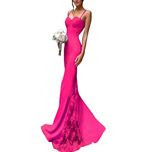 Gowns Satin Lace Mermaid Evening Straps Dresses Long Hot 2018 Dresses Spaghetti Prom Blush Bridesmaid Pink Pink Dimei Applique nq16X6
