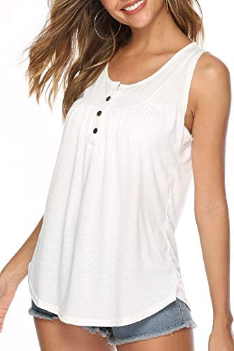 FZ FANTASTIC ZONE WOMEN'S SUMMER SLEEVELESS BUTTON UP CASUAL LOOSE TANK TOPS TUNIC SHIRTS BLOUSES