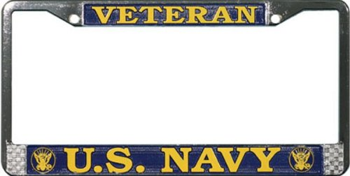 United License Plate - United States Navy veteran metal license plate frame