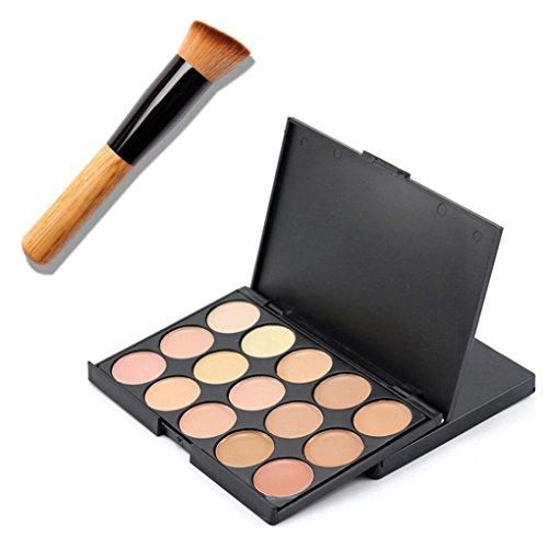 ❤JPJ(TM)❤️ Women Concealer,15 Colors Girls Creative Face Makeup Concealer Contour Palette + Makeup Brush (A)