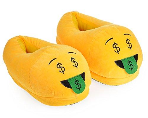 DSstyles Diversión Caliente Lindo EMOJI Cara Zapatos de Invierno Unisex Adulto Zapatillas money mouth