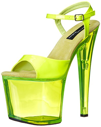 The Highest Heel Women's Fantasy-101 6 Inch Platform Sandal,Neon Yellow,7 M US