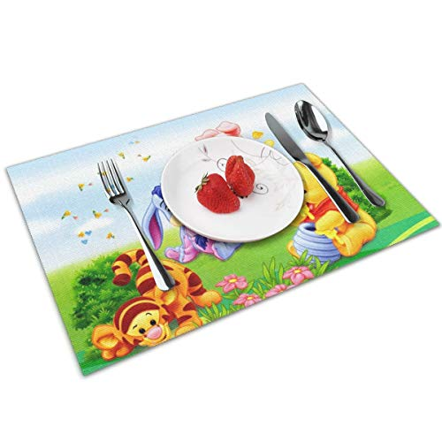 (LIUYAN Placemats Baby Winnie The Pooh Non-Slip Placemat Washable Dining Table Mats 4pcs)