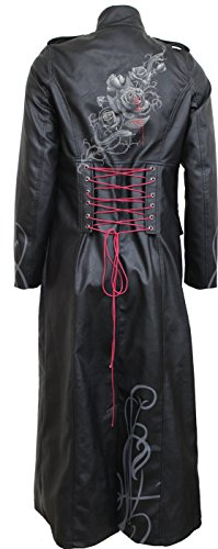 Donna Giacca Fatal Attraction Spiral 001 Gothic black leather Coat Back Nero Corset Trench Pu Direct UUvwq5P