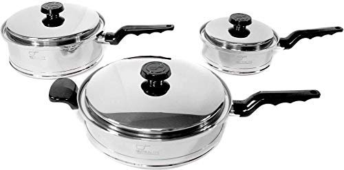 Nutralife Cookware Set - 6 Piece - Energy Efficient Induction Ready Base Set - 2 Saucepans (1 qt, 3 qt) and 1 Large Skillet - All w/Covers