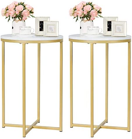 Giantex End Table X-Shaped Small Round Side Table W Faux White Marble Top, Sturdy Golden Metal Frame, Chic Appearance for Living Room Bedroom Study Room Nightstand 2