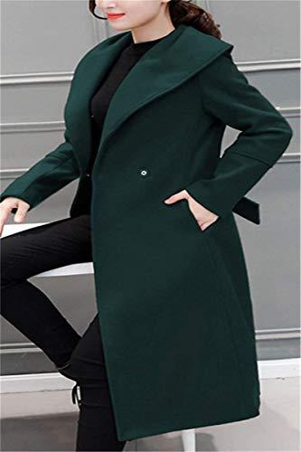 Tasche Invernali Pulsante Moda Donna Grün Coat Cintura Bavero Cappotti Lunga Inclusa Laterali Manica Giacca Estilo Vento Di Especial q5wXApyRwf