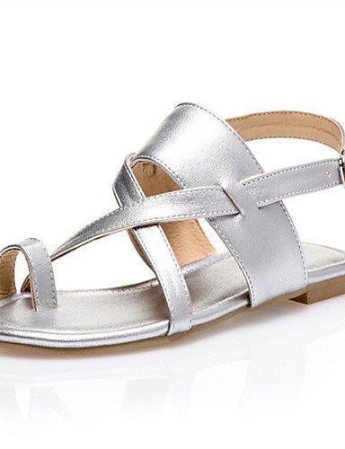 LFNLYX Zapatos de mujer-Tacón Plano-Comfort-Sandalias-Exterior / Casual / Vestido-Materiales Personalizados-Negro / Marrón / Plata Silver