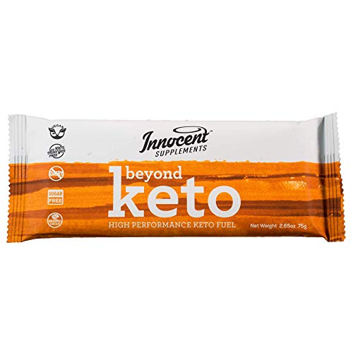Innocent Supplements Beyond Keto Bars | 6 Pack, 2.65oz Bars | High Performance Keto Fuel | Vegan, Sugar Free, Zero Carb Protein Bars Made with Organic Chocolate