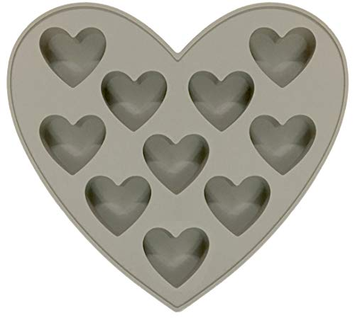 MarStore 10 Cavities Heart Shape Silicone Mold for 10 Functions Baking Chocolate, Soap, Fondant, Pudding, Jelly, Candy, Cookie, Ice Cube, Small Cake, Gelatine - Flat Heart Mold