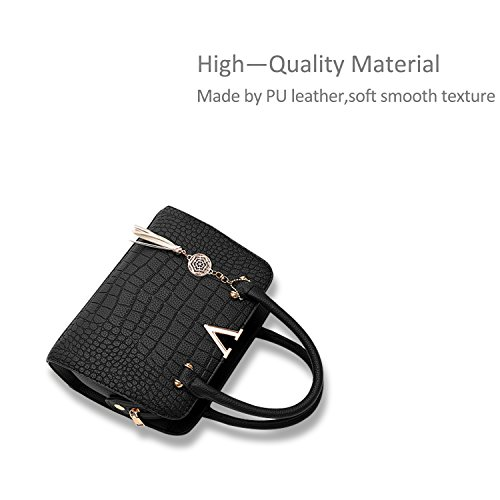 Crossbody Handbag Black Women Purse Nicole Black PU Leather Shoulder Satchel amp;Doris Fashion Bag Itw7U