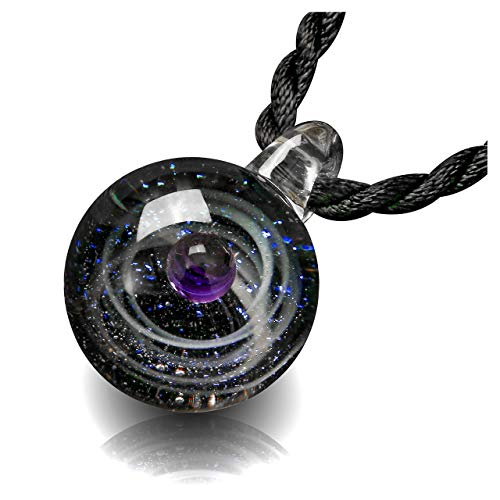 Top Plaza Fashion Glass Necklace Jewelry Universe Galaxy Nebula Space Cosmos Glass Ball Pendant Unique Special Birthday Christams Gift for Womens Girls #4