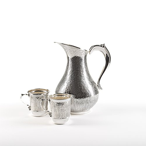Silver jug with two silver glasses, Water Pitcher, Embossed Jug, set for drinking, Sterling Silver, 925 (Sterling Water Pitcher)