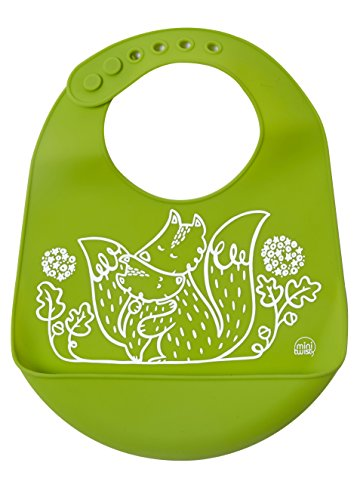 modern-twist Foxes Waterproof Silicone Baby Bucket Bib with Adjustable Strap, Plastic Free, Wipe Clean and Dishwasher Safe, Green