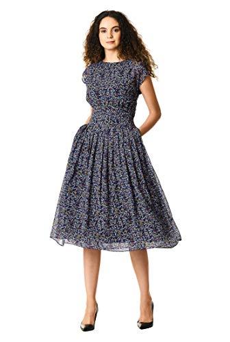 - eShakti FX Ditsy Floral Print Georgette Pleated Empire Dress Black Multi