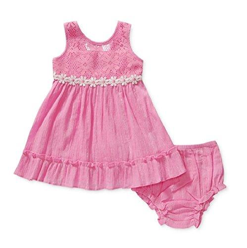Sweet Heart Rose Baby Girls Mixed-Media Dress Pink/Daisies (18 Months)