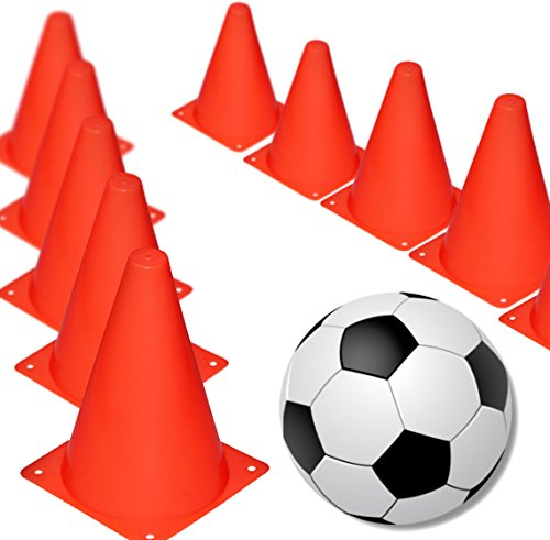 Novelty Place 7 Inch Multipurpose Training Cones (Set of 12), Soft & Durable Traffic Cone for Safety, Agility, Soccer, Football & Other Activities - Neon Red ()