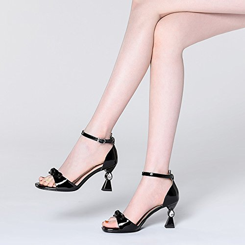 Toe Buckle Open Black Size Women's Tie 5 Women's button 6CM Heel 7 Pink EU37 ZHIRONG 5 Summer UK4 Color Roman Sandals High CN37 Shoes One Bow Thick Rhinestone Shoes Heel Og7pYXcq