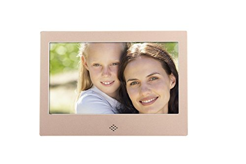 ? 7'' Digital Photo Frame ? Screen 800×480 High Resolution Aluminum alloy Support MP3 MP4 Video Player Clock and Calendar Function with Remote Control? , Gold