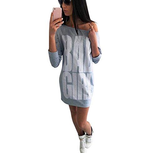 Tongshi Las mujeres de la manera del otoño posters atractivo del mini vestido Gris