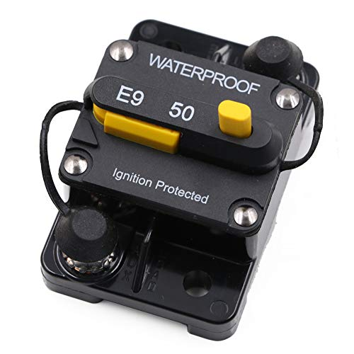 - 50 Amp Surface-Mount Circuit Breakers with Manual Reset, 12V- 48V DC, Waterproof