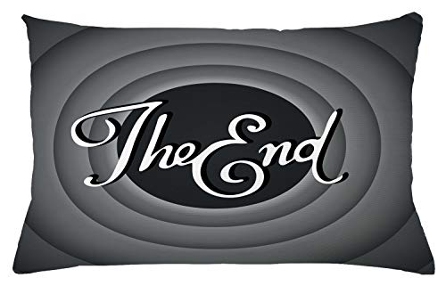 """Lunarable 1950s Throw Pillow Cushion Cover, Vintage Movie Ending Screen Camera Hollywood Industry Film and Television, Decorative Rectangle Accent Pillow Case, 26"""" X 16"""", Green Grey"""