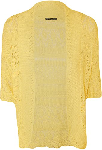 Plus Size Womens Crochet Knitted Shrug Top - Yellow - 20-22