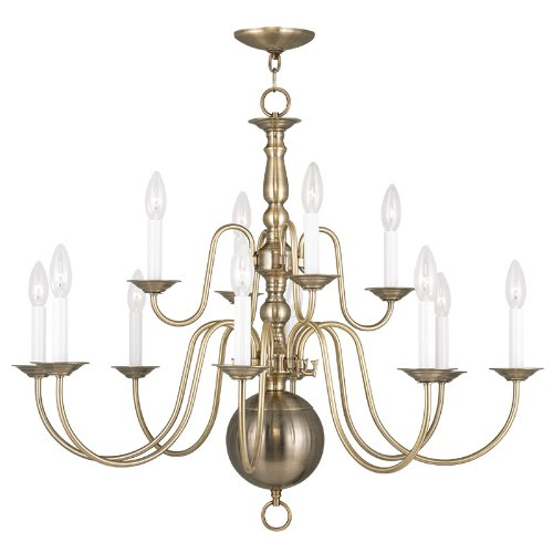 Livex Lighting 5014-01 Williamsburg 12-Light Chandelier, Antique Brass Antique Brass Williamsburg 1 Light