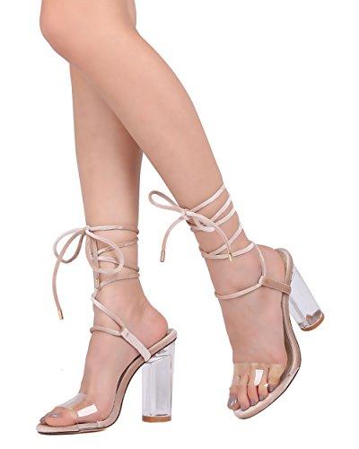 Cape Robbin Donna Lucite Sandalo Con Cinturino Alla Caviglia - Dressy, Formale, Costume - Stringato Tacco Tondo - Gg58 By Nude