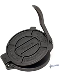 "Victoria Cast Iron Tortilla Press & Pataconera, The Original MADE in Colombia, Tortillera, Tortilladora, Seasoned, 8"", Black"