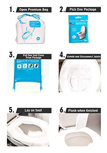 SoNeat disposable toilet seat covers - 50 sheets of flushable toilet seat covers. 5 resealable packs of 10 toilet seat covers that serve as the perfect travel essential