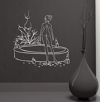 Naked Woman Bath Beauty Salon Spa Therapy Relax Wall Mural Vinyl Decal (VS2107)
