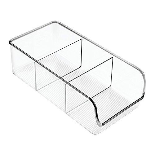 InterDesign Linus Kitchen, Pantry, Refrigerator, Freezer Storage Container, Clear (Divided Shelf Storage)