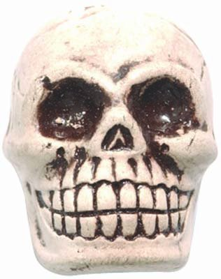 Shipwreck Beads 20 by 27mm Peruvian Hand Crafted Ceramic Skull Beads, White, 3 per -