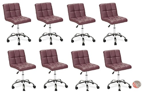 Madison & Park SET OF 8 Easy Glide Office Chair TTO BURGUNDY Desk Chair Task, Home, or Office Chair Office Furniture - Madison Office Furniture