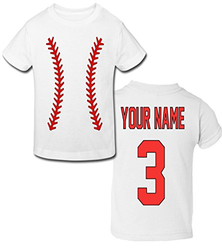 Baseball Personalized Toddler T-Shirt with Your and Number on Back