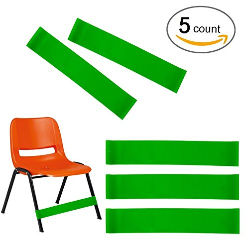 (Set of 5) Natural Latex Stretch Foot Bands ,Workout ADHD ADD SPD Autism Sensory Needs & Stretch Foot Band for Chairs by Rehab or Physical Therapy.
