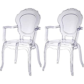 Amazon Com 2xhome Set Of Two 2 Clear Modern Ghost Chair