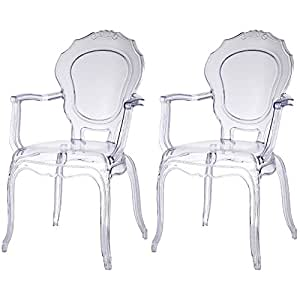 2xhome - Set of Two (2) - CLEAR - Belle Style Ghost Armchairs - Poly-carbonate Plastic Modern Mid Century Art Deco Designer Dining Arm Chairs