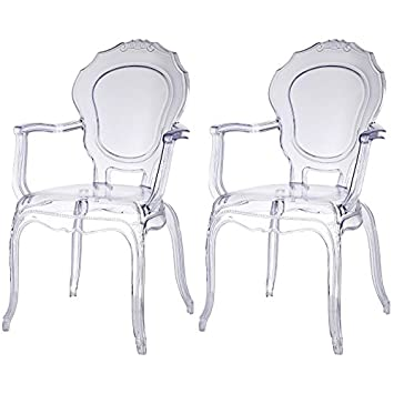 2xhome   Set of Two  2    CLEAR   Belle Style Ghost Armchairs. Amazon com   2xhome   Set of Two  2    CLEAR   Belle Style Ghost