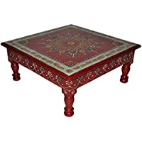 Handpainted Work Design Wooden Meenakari Chowki Table Christmas Home Decorations13 X 13 X 5.5 Inches