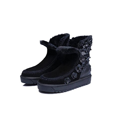 34 Female Velvet Shoes Flowers Fashionable Wool Snow Genuine Boots Leather Girls Plus Lambs Warm Handmade g6RnAqFF