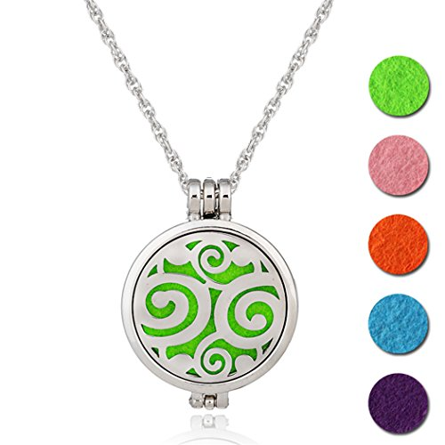 SOURBAN Oils Diffuser Pendant Necklace Stainless Steel Locket Perfume Gift Cloud