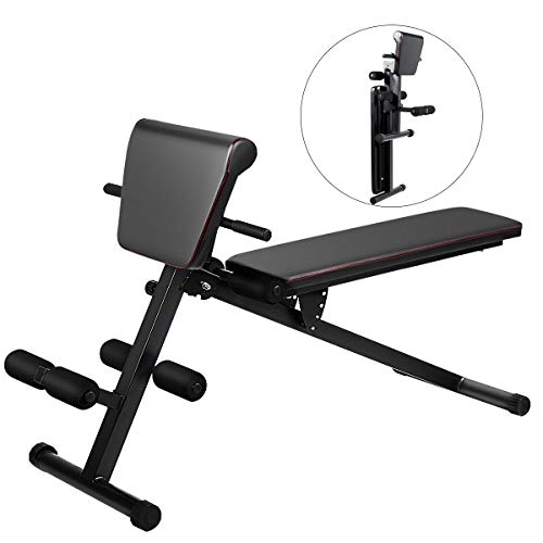GOPLUS Multifunctional Weight Bench, Foldable Exercise Bench with Adjustable Positions, for Strength Training Core Workout Training/Leg Exercise/Sit Up/Push Up (Black)