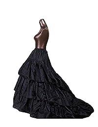Mingxuerong ELEGANT Women Girls Skirt Sweep Train underskirt Petticoat Slip long black2