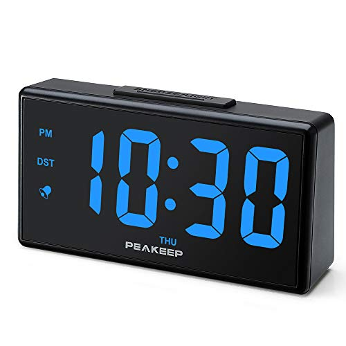 - PEAKEEP Large Digital Alarm Clock with USB Charger and Night Light, Dimmers, Big 1 3/4 inches Digits, High Low Loud Alarm Volume, Day, DST, AC Powered for Bedrooms Bedside (Blue Digits)