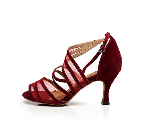Red Baile De 5cm UK4 Salsa Moderno Zapatos Sandalias JSHOE Tacones Latino Tango Chacha heeled8 Our36 Samba Jazz Para Altos Mujer EU35 5EZgqTw