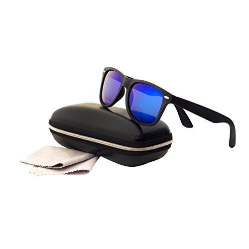 Soleil Polarisées et Foncé de Lunettes 400 UV Hommes Rigide Femme Lunettes avec Miroir Bleu Protection étui QIXU Wayfarer w1q5XFXE