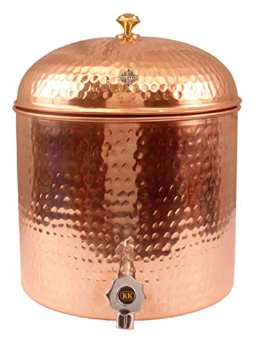 - Indian Art Villa Hammered Copper Dispenser Container Pot Tank Matka, Storage Water,406 OZ